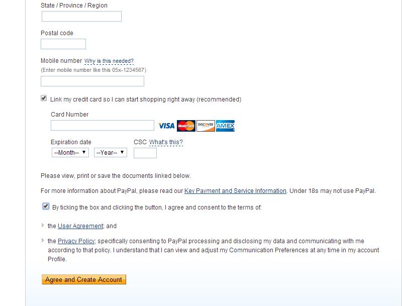 PayPal informacija apie banko kortelę