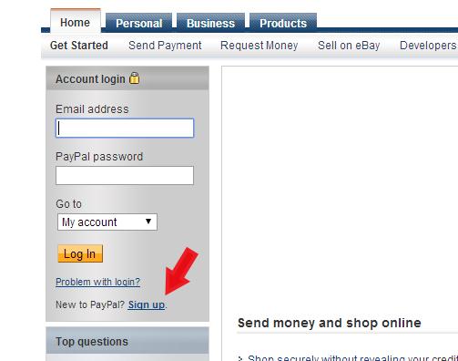 PayPal registracijos puslapis