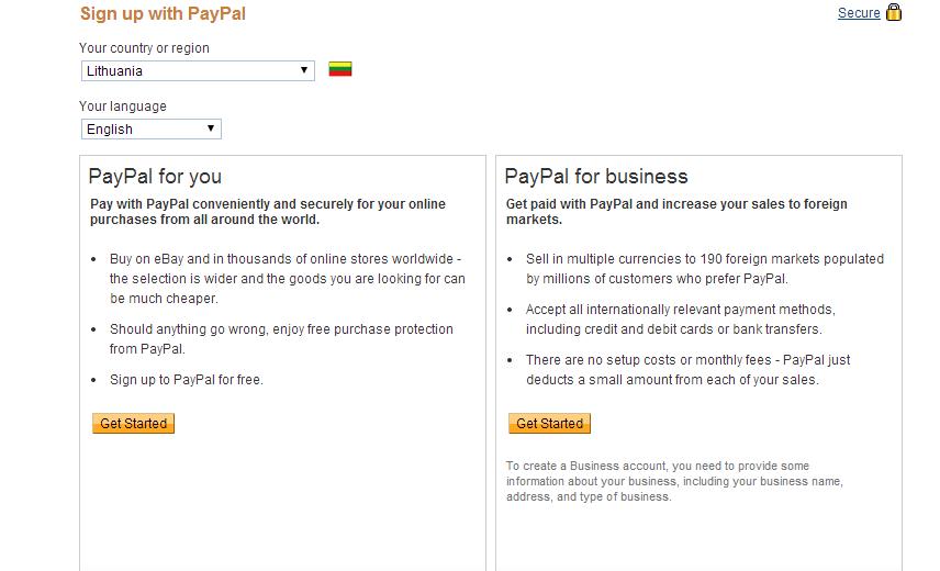 PayPal registracijos puslapis su kalba