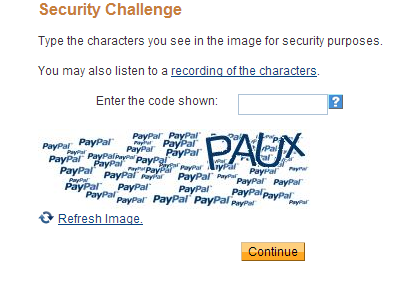 PayPal security code